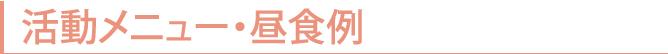 青春道場 春風 活動メニュー・昼食例